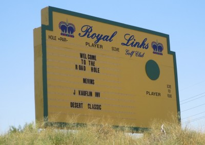 Royal Links Golf Club Las Vegas Hole 10 Road Hole KI Sign