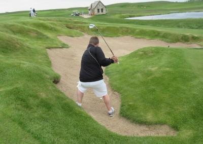 Erin Hills Golf Course Hole 9 Finger Bunker Shot