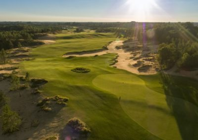Sand Valley Resort Mammoth Dunes Golf Course Hole 7 Green View Aerial STOCK